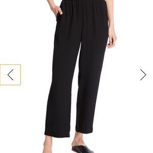 Black Silk Eileen Fisher Crepe Ankle Pants